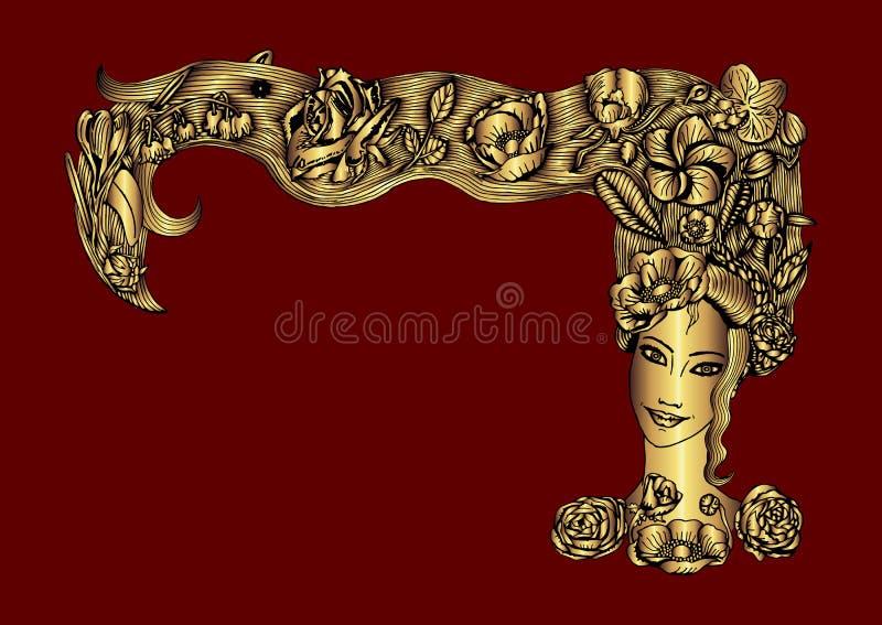 Πρόσωπο της μεταλλικής χρυσής γυναίκας με τη θερινή χλωρίδα στην τρίχα, στο καφέ backgound ελεύθερη απεικόνιση δικαιώματος