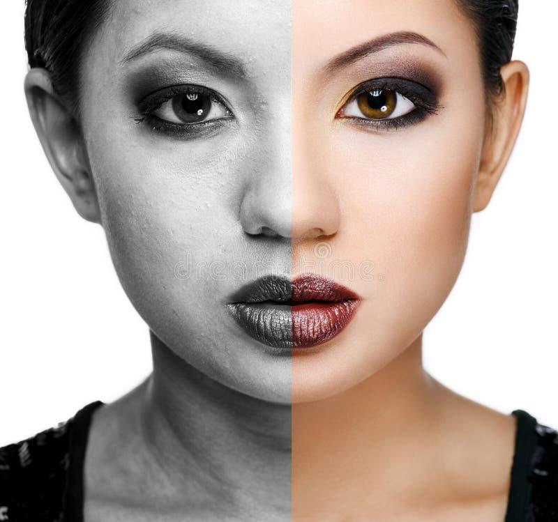 Πρόσωπο της νέας γυναίκας πριν και μετά από το ρετουσάρισμα στοκ εικόνες