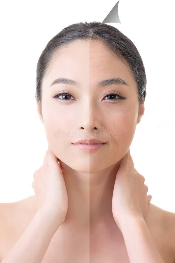 Πρόσωπο της όμορφης ασιατικής γυναίκας πριν και μετά από το ρετουσάρισμα στοκ εικόνα με δικαίωμα ελεύθερης χρήσης