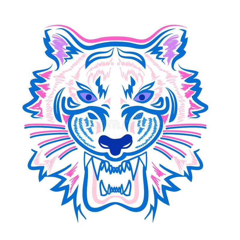 Πρόσωπο τιγρών που αντιπαραβάλλει τα καθιερώνοντα τη μόδα χρώματα στοκ εικόνες με δικαίωμα ελεύθερης χρήσης