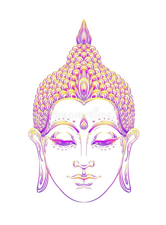 Πρόσωπο του Βούδα πέρα από το περίκομψο mandala γύρω από το σχέδιο Εσωτερικός τρύγος ελεύθερη απεικόνιση δικαιώματος