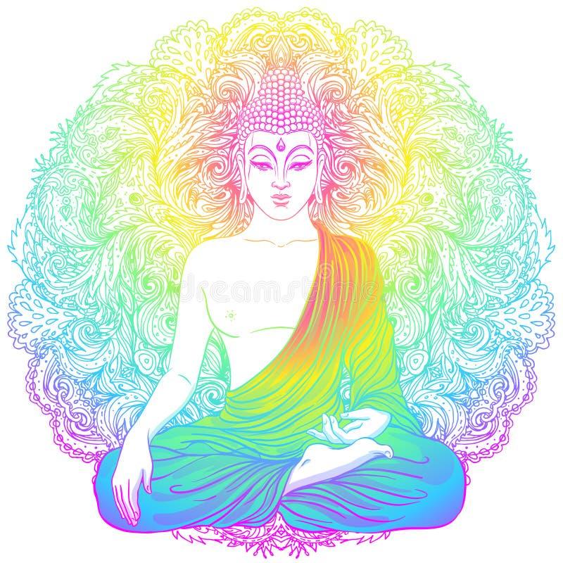 Πρόσωπο του Βούδα πέρα από το περίκομψο mandala γύρω από το σχέδιο Εσωτερικός τρύγος διανυσματική απεικόνιση