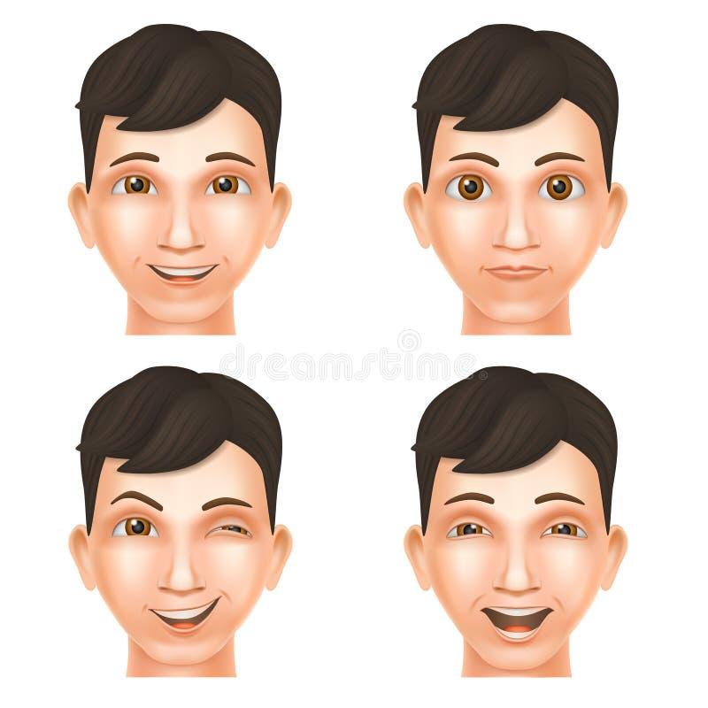 Πρόσωπο του ευτυχούς νεαρού άνδρα διανυσματική απεικόνιση