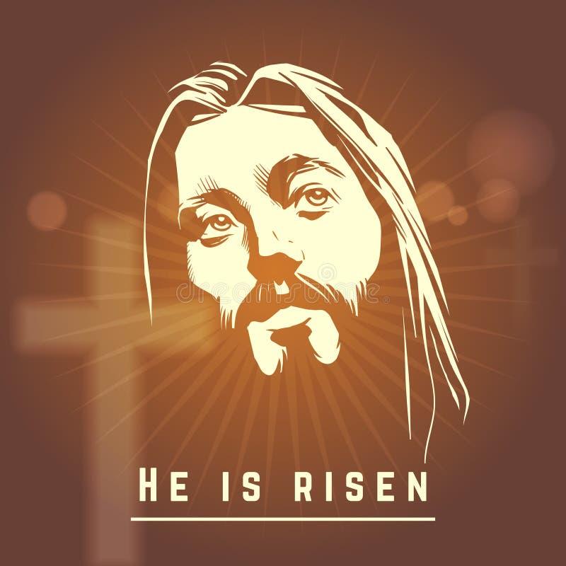 Πρόσωπο του Ιησού με είναι αυξημένο κείμενο Πάσχα απεικόνιση αποθεμάτων