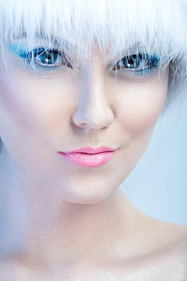 Πρόσωπο του όμορφου κοριτσιού, με το χειμώνα makeup στοκ εικόνα