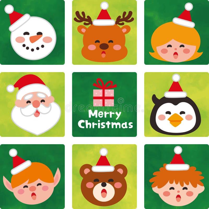 Πρόσωπο των χαριτωμένων χαρακτήρων Χριστουγέννων ελεύθερη απεικόνιση δικαιώματος