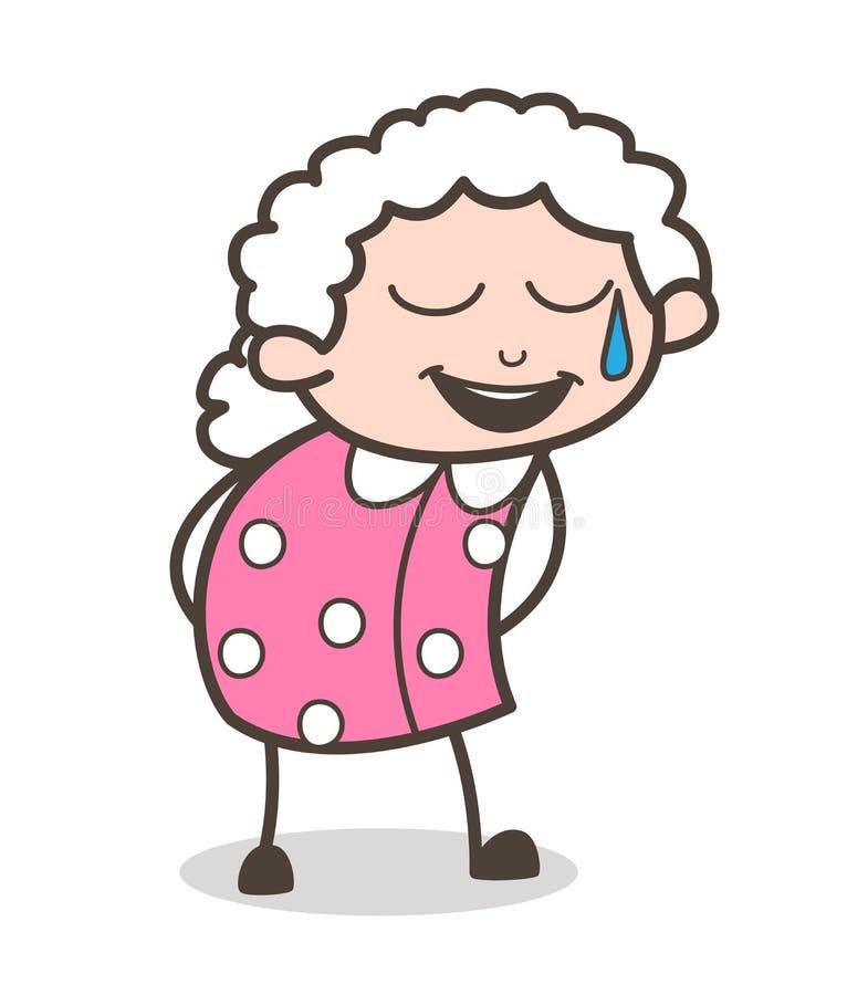 Πρόσωπο χαμόγελου γιαγιάδων κινούμενων σχεδίων με το ανοικτό στόμα και το κρύο διάνυσμα ιδρώτα ελεύθερη απεικόνιση δικαιώματος
