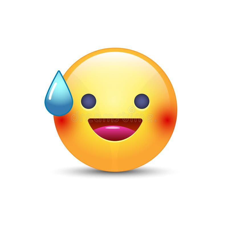 Πρόσωπο χαμόγελου με το ανοικτό στόμα και τον κρύο ιδρώτα Διάθεση χαμόγελου emoticon ελεύθερη απεικόνιση δικαιώματος