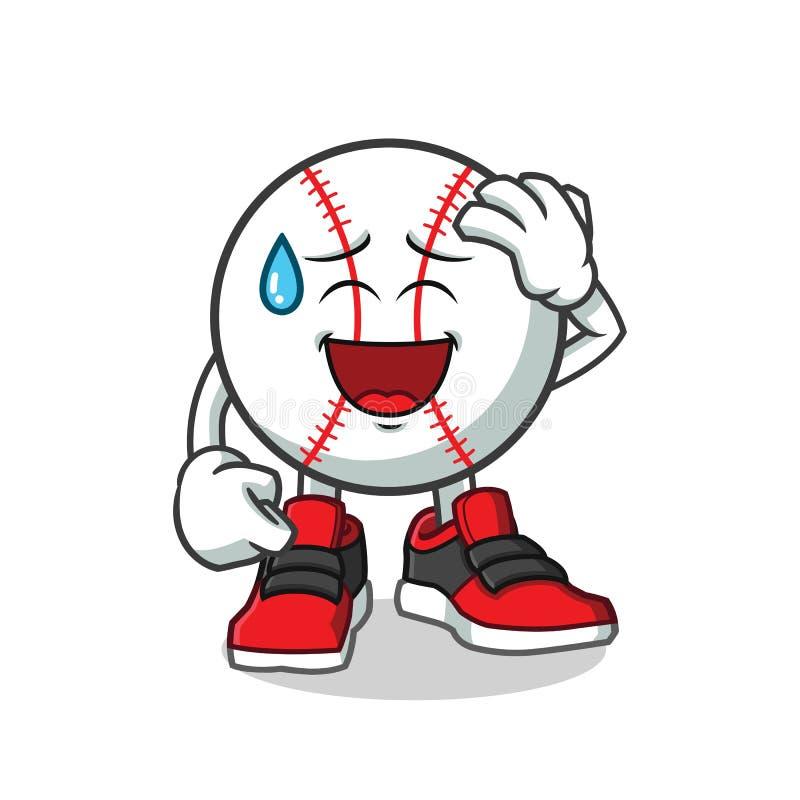Πρόσωπο χαμόγελου μπέιζ-μπώλ με την κρύα ιδρώτα απεικόνιση κινούμενων σχεδίων μασκότ διανυσματική απεικόνιση αποθεμάτων