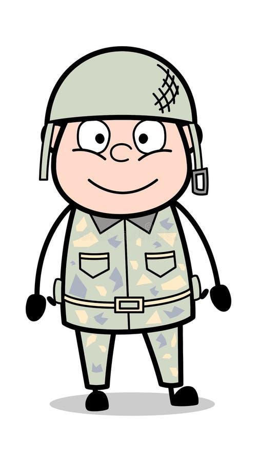 Πρόσωπο χαμόγελου - χαριτωμένη διανυσματική απεικόνιση στρατιωτών κινούμενων σχεδίων ατόμων στρατού απεικόνιση αποθεμάτων