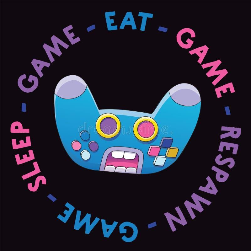 Πρόσωπο χαρακτήρα κινουμένων σχεδίων πηδαλίων Διανυσματική απεικόνιση ελεγκτών κραυγή ασύρματο Gamepad με το κείμενοη στοκ εικόνες