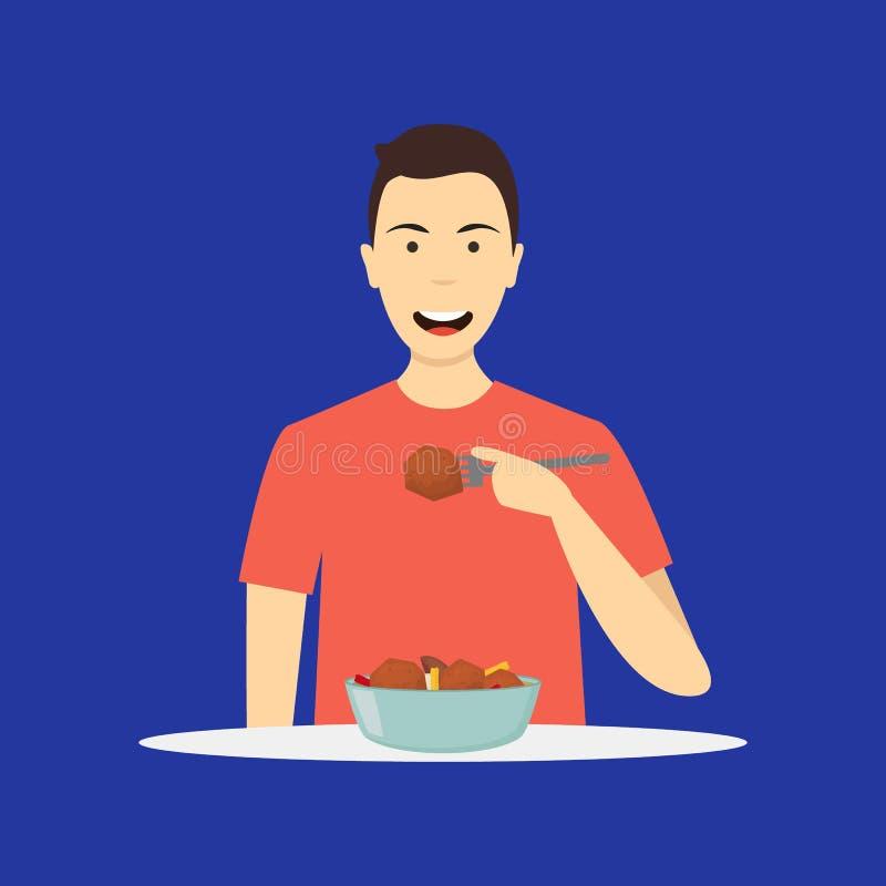 Πρόσωπο χαρακτήρα κινουμένων σχεδίων που τρώει το γεύμα σε ένα μπλε r ελεύθερη απεικόνιση δικαιώματος