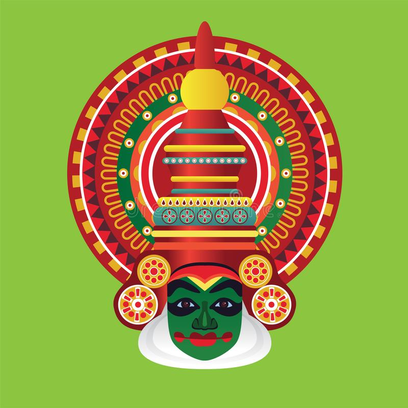 Πρόσωπο χορευτών Kathakali διανυσματική απεικόνιση