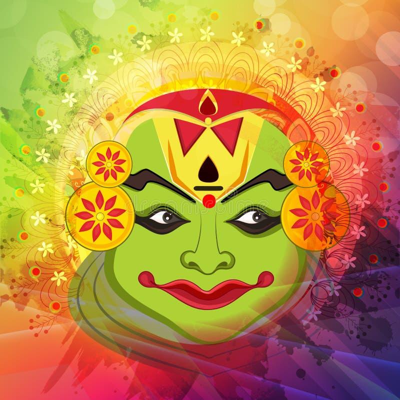 Πρόσωπο χορευτών Kathakali για τον ευτυχή εορτασμό Onam διανυσματική απεικόνιση
