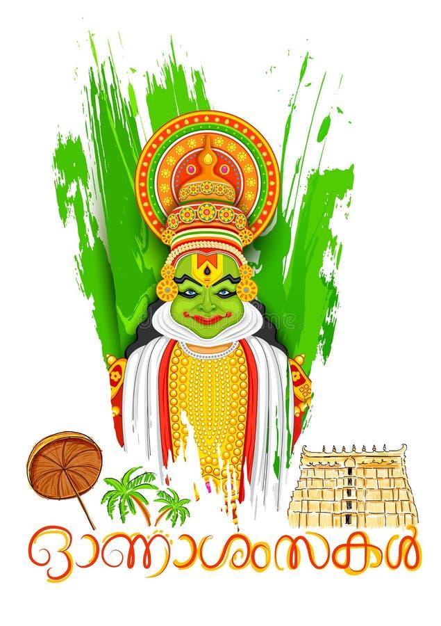 Πρόσωπο χορευτών Kathakali με το μήνυμα ευτυχές Onam ελεύθερη απεικόνιση δικαιώματος
