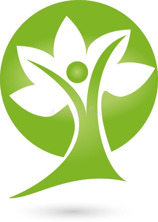 Πρόσωπο ως δέντρο, naturopath και λογότυπο φύσης διανυσματική απεικόνιση