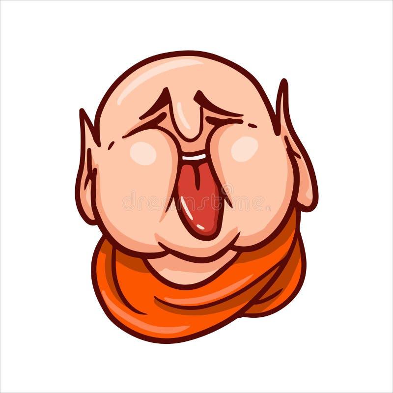 Πρόσωπο Buddha's με την κολλημένη έξω γλώσσα και τις στενά ιδιαίτερες προσοχές στοκ εικόνα με δικαίωμα ελεύθερης χρήσης