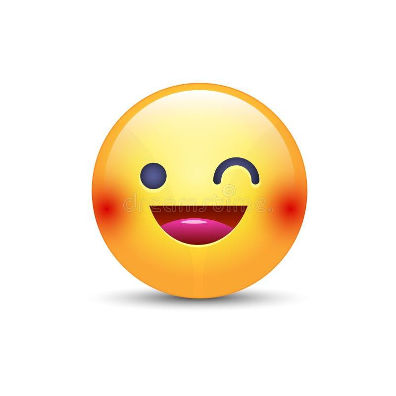 Πρόσωπο emoji κινούμενων σχεδίων διασκέδασης κλεισίματος του ματιού Κλείστε το μάτι και χαμογελάστε το ευτυχές διάνυσμα emoticon ελεύθερη απεικόνιση δικαιώματος
