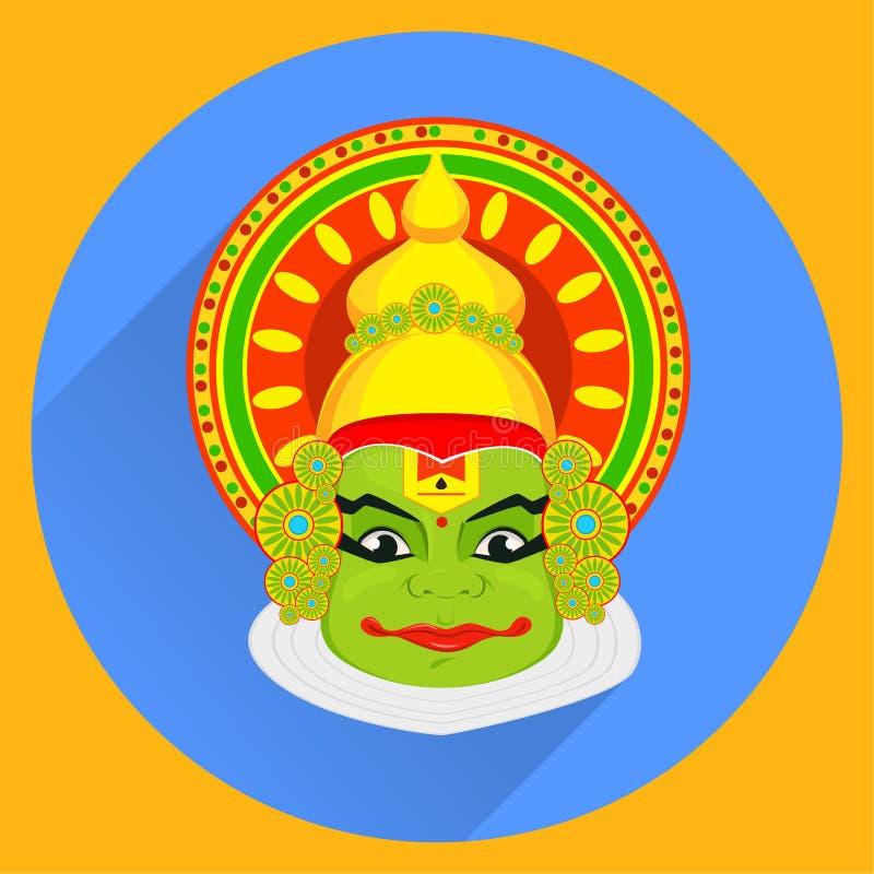 Πρόσωπο Kathakali με τη βαριά κορώνα για το φεστιβάλ του εορτασμού Onam διανυσματική απεικόνιση