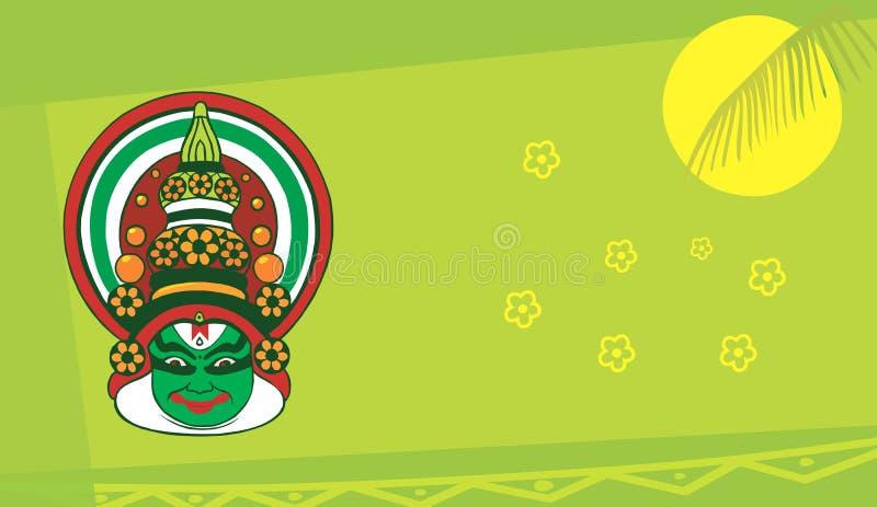 Πρόσωπο Kathakali floral σε πράσινο διανυσματική απεικόνιση