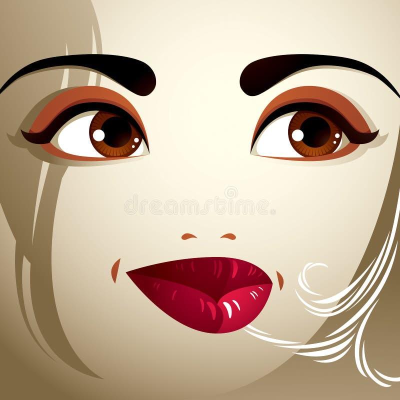Πρόσωπο makeup Χείλια, μάτια και φρύδια μιας ελκυστικής γυναίκας disp διανυσματική απεικόνιση