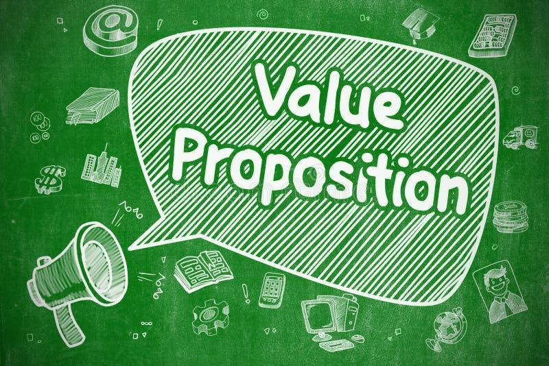 Πρόταση αξίας - απεικόνιση Doodle στον πράσινο πίνακα κιμωλίας ελεύθερη απεικόνιση δικαιώματος