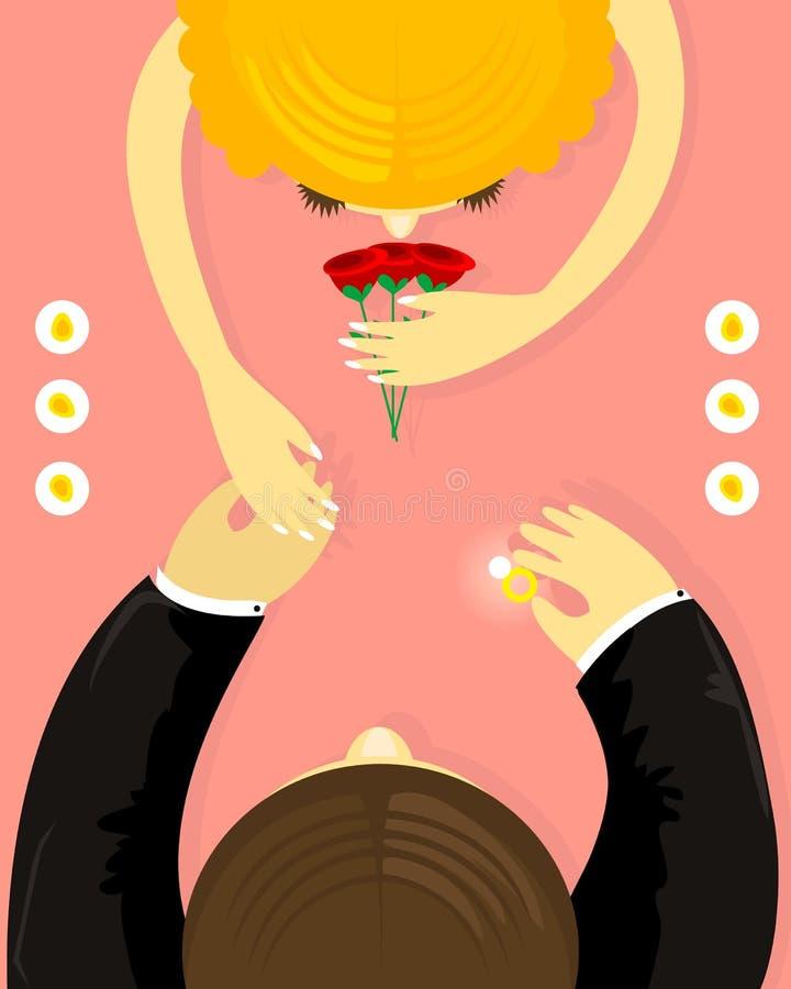 πρόταση γάμου διανυσματική απεικόνιση