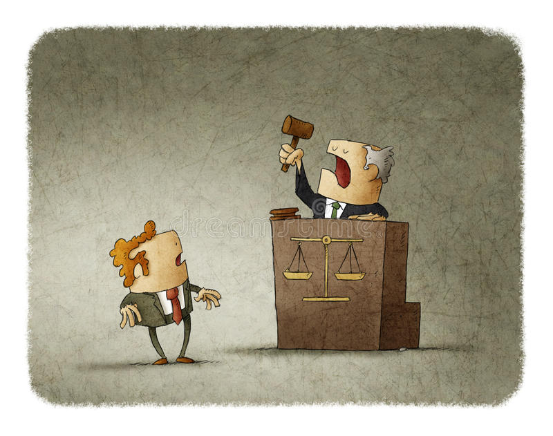 Πρόταση προφοράς δικαστών στο άτομο διανυσματική απεικόνιση