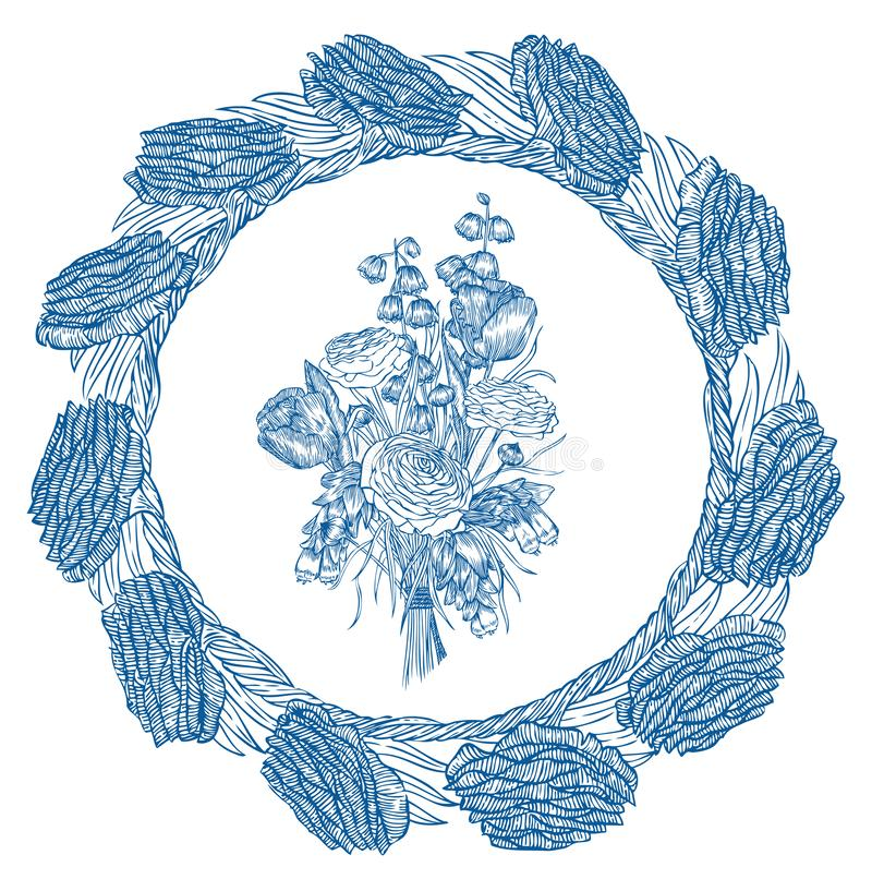 Πρότυπα ανθοδεσμών λουλουδιών Στοιχείο Vecter απεικόνιση αποθεμάτων