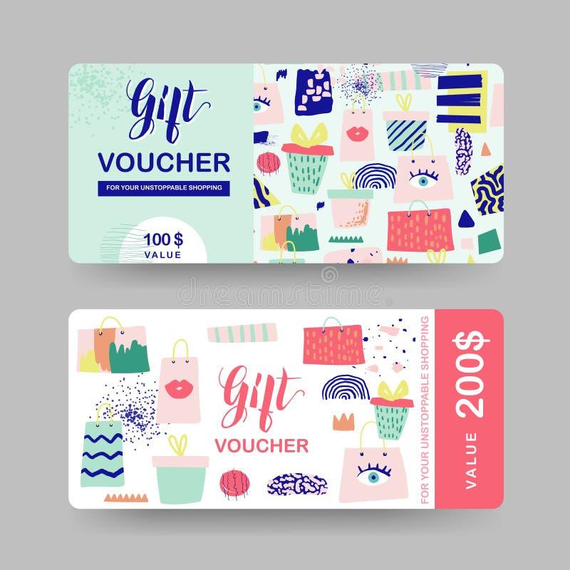 Πρότυπα αποδείξεων δώρων Κάρτα πιστοποιητικών δελτίων έκπτωσης με τις τσάντες αγορών και τα στοιχεία μόδας Προώθηση πώλησης, έμβλ ελεύθερη απεικόνιση δικαιώματος
