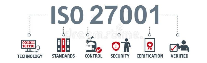 Πρότυπα 27001 ασφαλείας πληροφοριών εμβλημάτων διανυσματική απεικόνιση