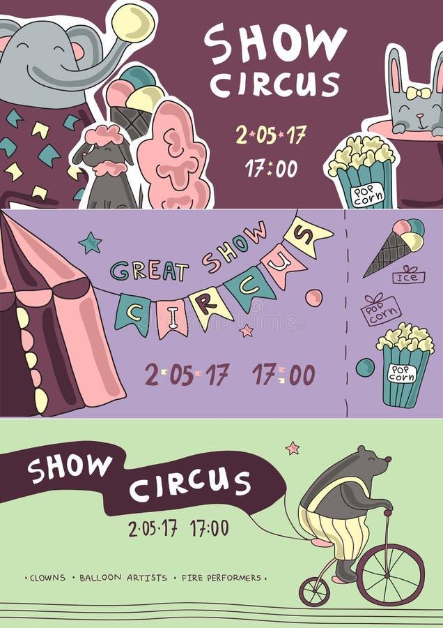 Πρότυπα εισιτηρίων τσίρκων ή καρναβαλιού με τη σκηνή chapiteau και τα εκπαιδευμένα ζώα Διανυσματική απεικόνιση ιπτάμενων διανυσματική απεικόνιση