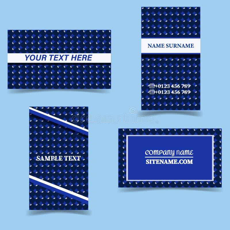 Πρότυπα επαγγελματικών καρτών Διανυσματικό σύνολο σχεδίου χαρτικών Μπλε, άσπρος και σκούρο μπλε ελεύθερη απεικόνιση δικαιώματος