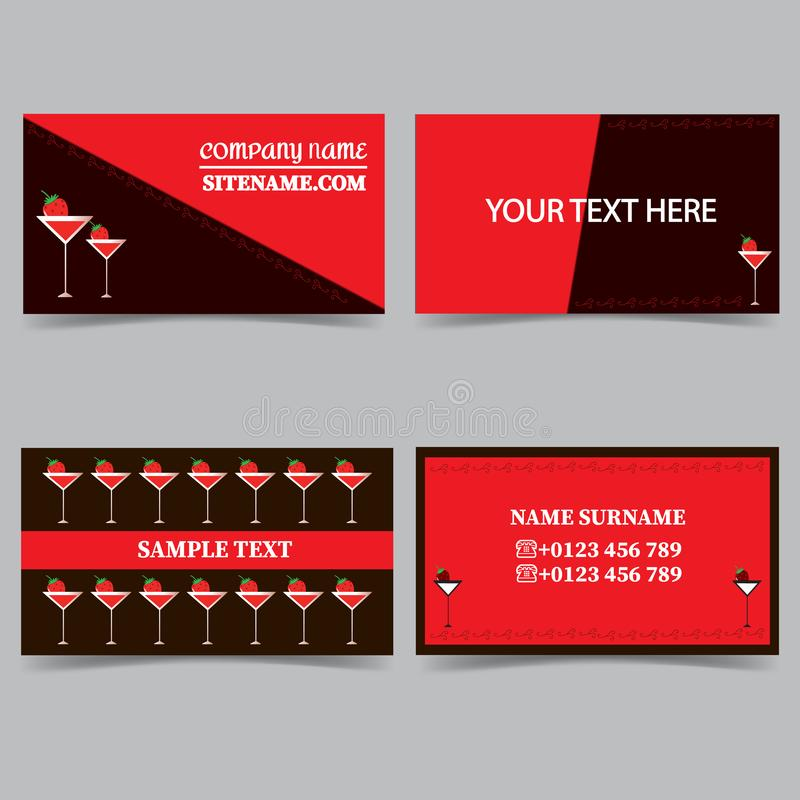 Πρότυπα επαγγελματικών καρτών με ένα γυαλί κοκτέιλ Διανυσματικό σύνολο σχεδίου χαρτικών διανυσματική απεικόνιση