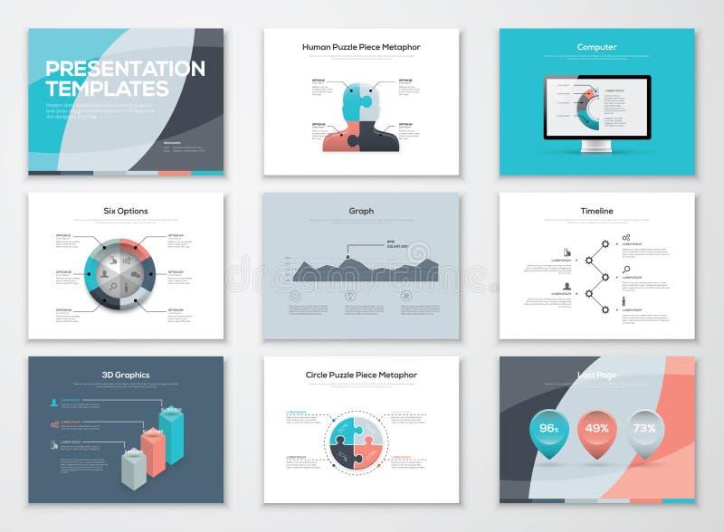 Πρότυπα επιχειρησιακής παρουσίασης και infographic διανυσματικά στοιχεία διανυσματική απεικόνιση