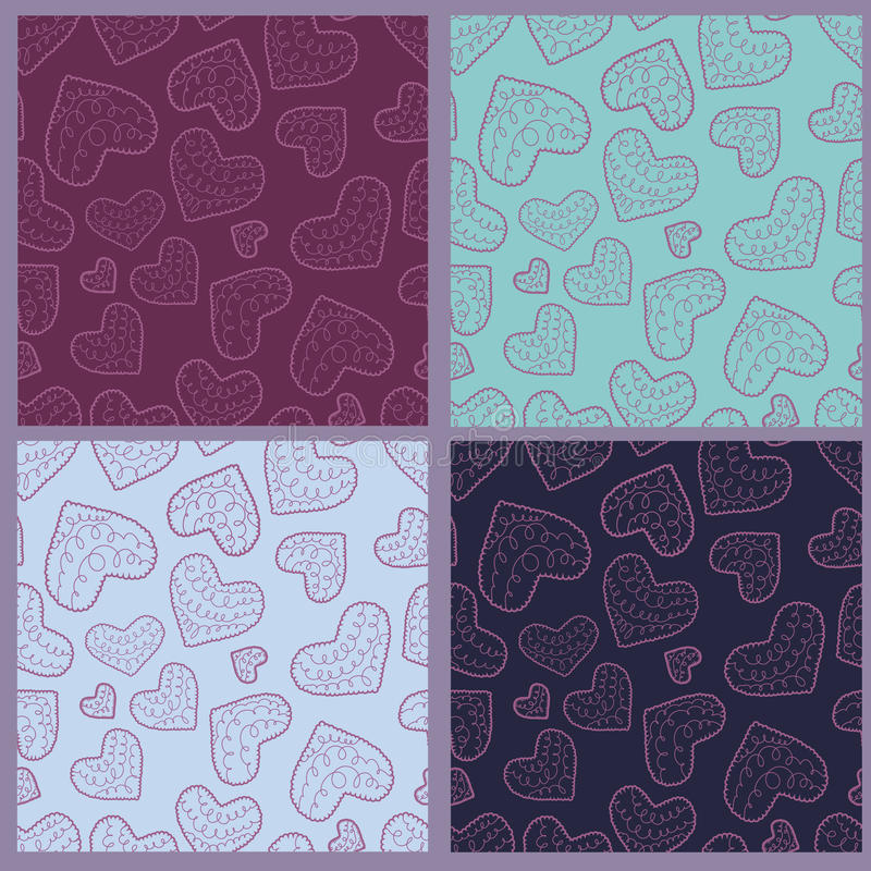 πρότυπα καρδιών συλλογής άνευ ραφής διανυσματική απεικόνιση