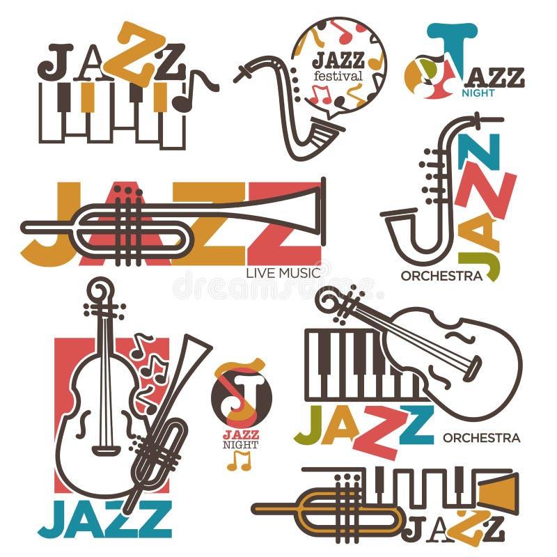 Πρότυπα λογότυπων συναυλίας φεστιβάλ νύχτας ή ζωντανής μουσικής της Jazz διανυσματική απεικόνιση