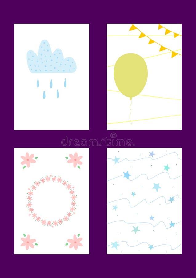 πρότυπα μωρών που τίθενται Πρότυπα για το σχέδιο των καρτών παιδιών ` s, εμβλήματα, αφίσες, τυπωμένες ύλες απεικόνιση αποθεμάτων