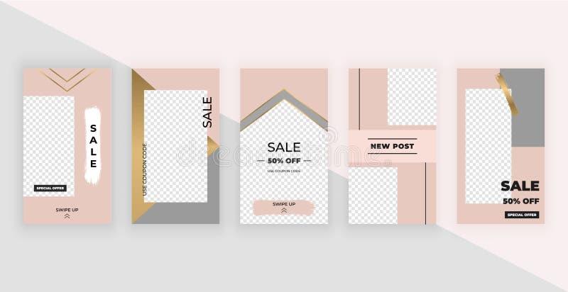 Πρότυπα μόδας για τις ιστορίες Σύγχρονο σχέδιο κάλυψης για τα κοινωνικά μέσα, ιπτάμενα, κάρτα ελεύθερη απεικόνιση δικαιώματος
