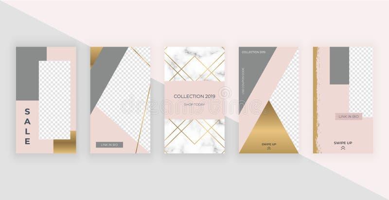 Πρότυπα μόδας για τις ιστορίες Instagram Σύγχρονο σχέδιο καλύψεων για τα κοινωνικά μέσα, ιπτάμενα, κάρτα διανυσματική απεικόνιση