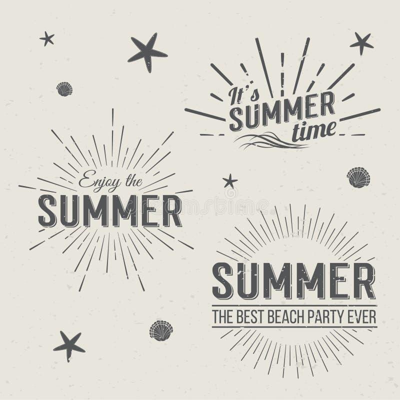 Πρότυπα λογότυπων θερινού χρόνου Εγγραφή διακοπών διανυσματική απεικόνιση