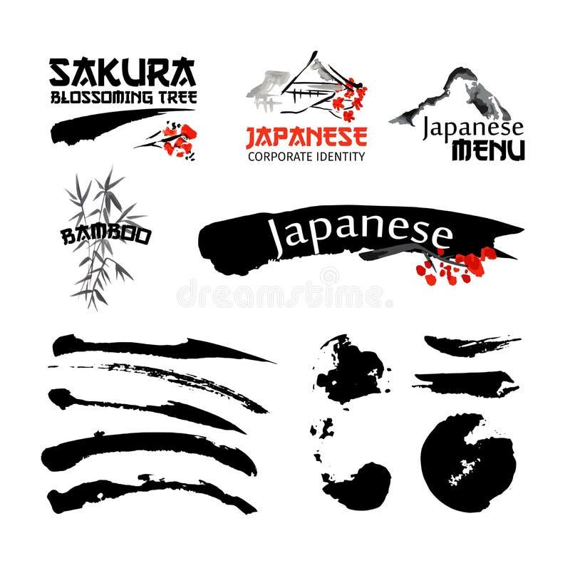 Πρότυπα λογότυπων που τίθενται με το sakura τοπίων, κτηρίων και άνθησης της Ασίας branchs στο παραδοσιακό ιαπωνικό ύφος sumi-ε ελεύθερη απεικόνιση δικαιώματος