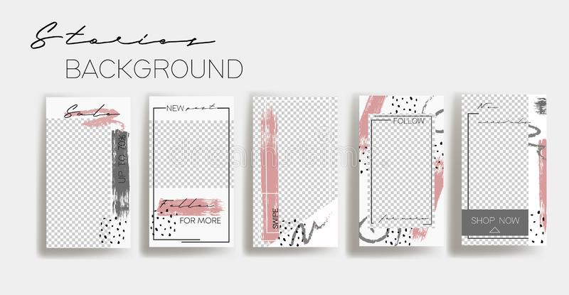 Πρότυπα πλαισίων ιστοριών Instagram   Πρότυπο για το κοινωνικό έμβλημα μέσων άσπρο και γκρίζο αφηρημένο σχεδιάγραμμα κολάζ απεικόνιση αποθεμάτων