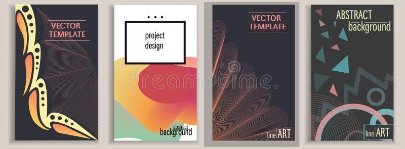 Πρότυπα που τίθενται με το σκοτεινό και άσπρο υπόβαθρο για τα εμβλήματα, αφίσες, εκθέσεις, φυλλάδια, καλύψεις Πολύχρωμο διάνυσμα  απεικόνιση αποθεμάτων