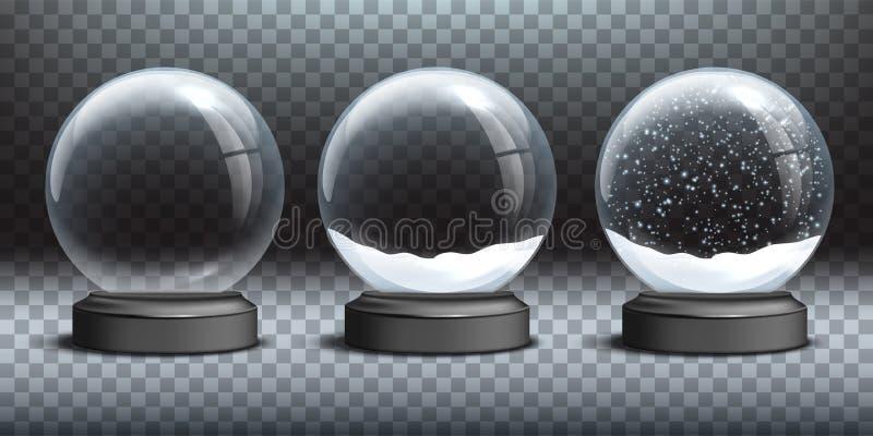 Πρότυπα σφαιρών χιονιού Κενές σφαίρα χιονιού γυαλιού και σφαίρες χιονιού με το χιόνι στο διαφανές υπόβαθρο Διανυσματικά Χριστούγε ελεύθερη απεικόνιση δικαιώματος