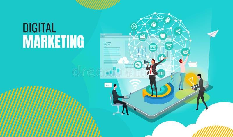 Πρότυπα σχεδίου επιχειρησιακού ψηφιακά μάρκετινγκ για on-line να ψωνίσει διανυσματική απεικόνιση
