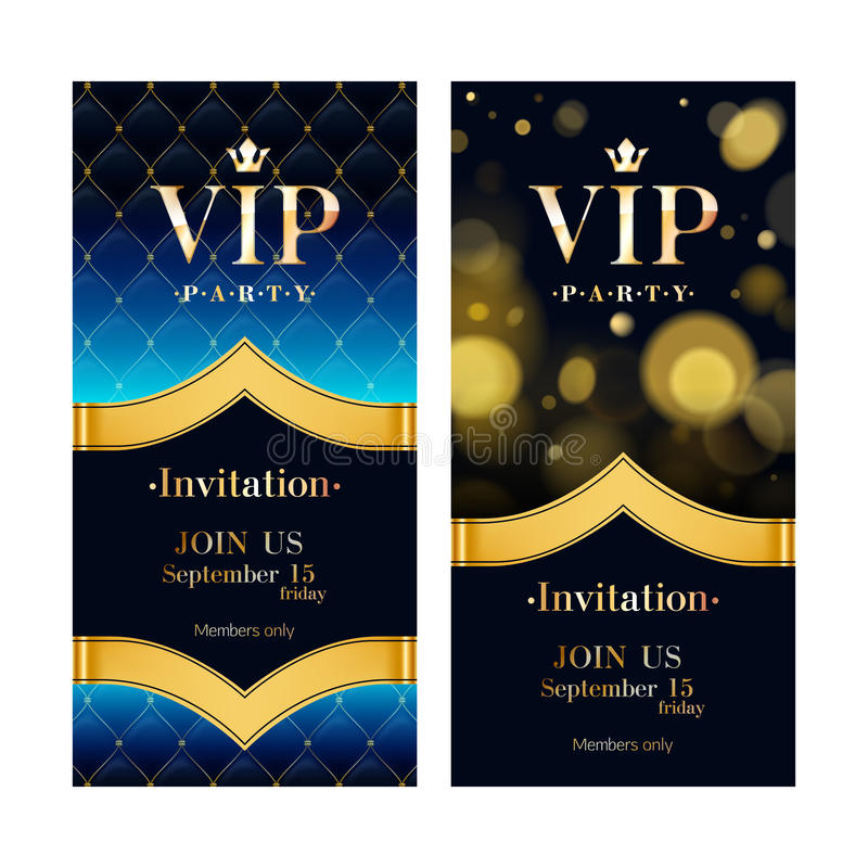 Πρότυπα σχεδίου ασφαλίστρου καρτών VIP πρόσκλησης καθορισμένα ελεύθερη απεικόνιση δικαιώματος
