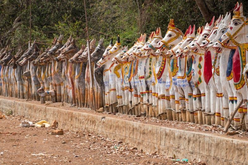 Πρότυπα των μυθικών αλόγων στο κράτος του Tamil Nadu, Ινδία στοκ φωτογραφία