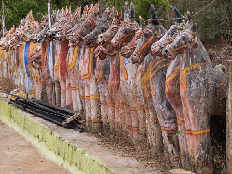 Πρότυπα των μυθικών αλόγων στο κράτος του Tamil Nadu, νότια Ινδία στοκ εικόνα με δικαίωμα ελεύθερης χρήσης