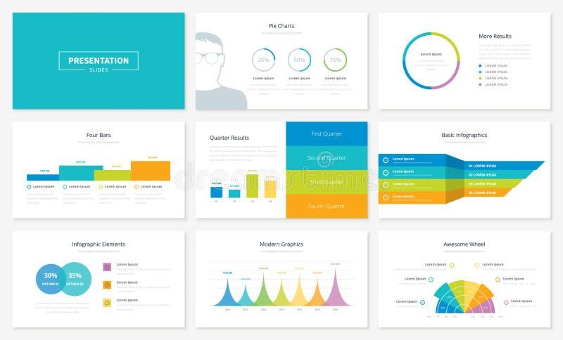 Πρότυπα φωτογραφικών διαφανειών παρουσίασης Infographic και διανυσματικά φυλλάδια ελεύθερη απεικόνιση δικαιώματος